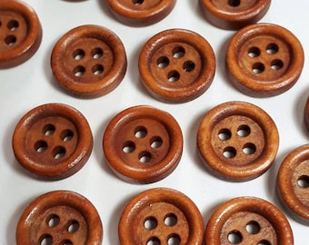 25pcs Wooden Buttons - Small Wood Buttons - 11.5mm Buttons - Sewing Buttons - 4 Hole Buttons - Coat Buttons -  B20325