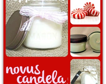 Mason Jar Candle - Soy Candle - Soy Scented Candle - Peppermint Candle - Homemade Candle - Jar Candle - Housewarming Gift - 4 or 8 oz