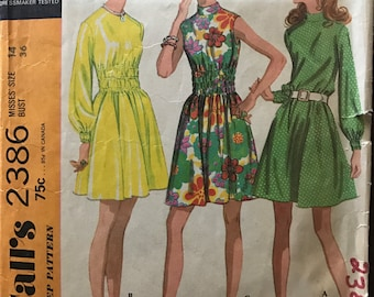 McCalls 2386 - 1970s A Line Dress with Ruched Midriff and Stand Up Collar - Size 14 Bust 36