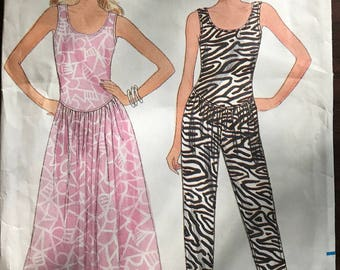 Butterick 4842 - 1980s Fast and Easy Scoop Neck Sleeveless Dress or Jumpsuit with Shaped Bodice - Size L XL