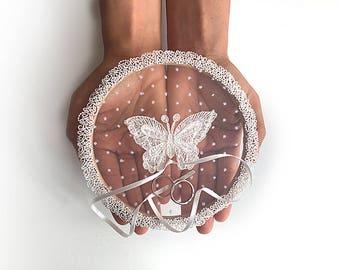 EXPRESS SHIPPING, Ring Pillow Alternative, Wedding Ring Pillow, Ring Holder, Ring Hoop, Butterfly, Lace Ring Pillow, Boho Wedding, Lace