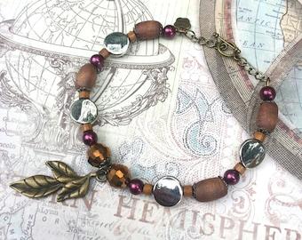 Charm Bracelet, Burgundy Bracelet, Beaded Bracelet, Leaf Charm Bracelet, Charm Bangle Bracelet, Stacking Bracelet - 00152