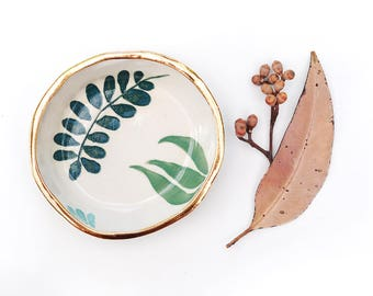 NEW LEAF - Gold Rimmed Bowl - Hand Painted - Stoneware Clay