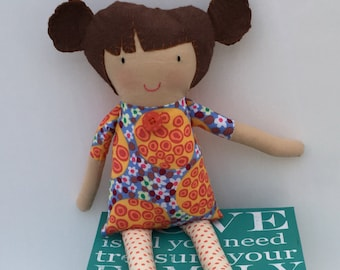 fabric rag doll, girl rag doll, handmade doll, soft toy, cloth doll, brown hair doll, baby girl, gift, child gift, hand stitched, baby doll