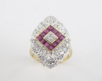 Vintage Design Diamond Ruby Ring 14k Yellow And White Gold Size 10 1/2