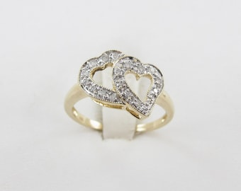 14K Yellow Gold Double Heart Valentine Freindship Diamond Ring Size 7 1/2
