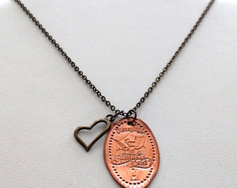Tinkerbelle Fantasy Land Disney Pressed Penny Necklace 2 Sided TIN-1 Includes Antiqued Charm and Chain You Choose The Length