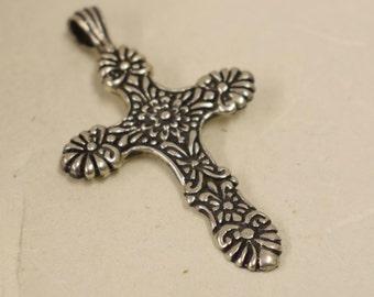 Cross Sterling Silver Pendant Handmade Jewelry Silver Cross Necklace Religious Spiritual Unique Sterling Silver Cross Symbol