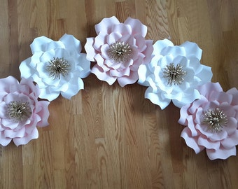 Paper flower backdrop, Paper flower decor, Nursery paper flowers, Baby pink and white paper flowers