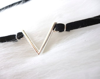 V Choker Necklace - Suede Choker Necklace - Black Choker - Silver Choker - Geometric Choker - V Shape Choker Necklace