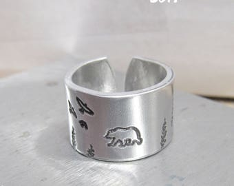 Animal Ring Bear Gift, Nature Ring for Men Gifts, Bear Ring Men Jewelry, Grizzly Bear Ring