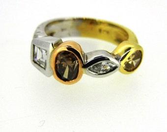18k Tri-Tone Multi Colored Diamond Ring
