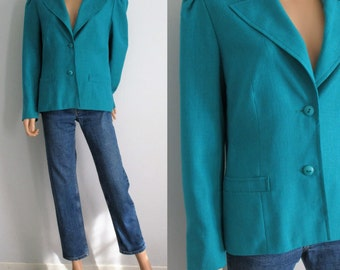 Teal blazer jacket, 80s french retro vintage, single breasted, large collar, fitted cut, puff shoulders, textured, medium