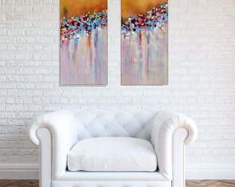 Large Wall Art Original Abstract Colorful Painting Orange Wall Art Canvas Diptych Abstract Flower Painting Home Or Office Art, Christovart