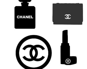 perfume logo,lipstick and purse sticker, vinyl, decal, labels (24 pieces)