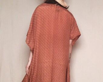 INDIAN SILK KAFTAN // Vintage 70's Silk Kaftan Maxi Dress Bohemian Dress Boho Clothing Hippie Festival Wear Beach Cover Silk Dress Gypsy