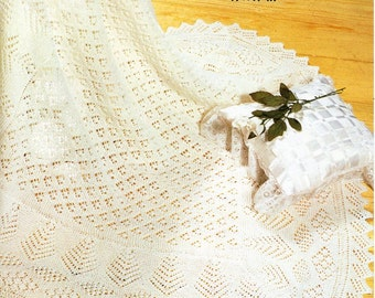 Vintage baby 2ply / 3ply square shawl knitting pattern PDF baby shawl Christening shawl square shawl lace shawl 47 inch PDF Instant download