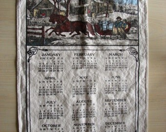 1987 Calendar Tea Towel – Winter Scene Calendar Towel
