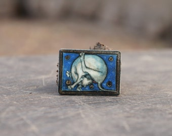 Dog brooch, Animal brooch, Medieval brooch, Dog lover gift, Blue jewelry, Dog pin, Animal pin, Animal lover gift, Gift for dog lovers