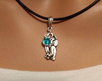 Silver Angel Necklace with Birthstone - Christmas Jewelry - Holiday Jewelry - Religious Jewelry - Epsteam