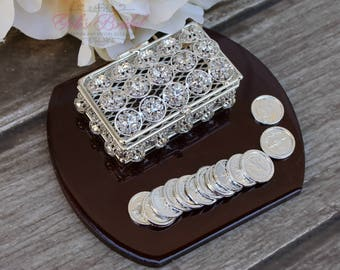 NEW!! Silver Wedding Arras,Ring Box, Arras de Boda, Unity Coins, Treasurer Chest Wedding Arras, Silver Wedding Arras, 13 wedding Unity Coins