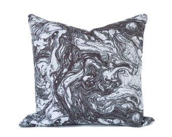 Marble pillow cover - Charcoal Gray White Brown toss pillow, Marbled, Swirled, Modern, Contemporary toss cushion, decorative pillow