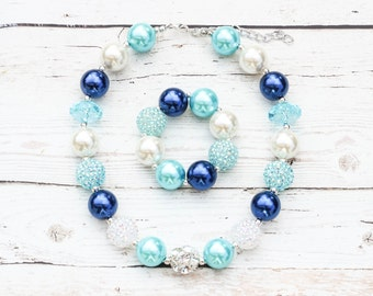 Navy Blue & Aqua Girls Chunky Necklace, Baby Chunky Bubblegum Necklace, Girls Bubblegum Necklace, Bubble Gum Children Necklace Baby Jewelry