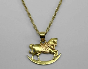 14Kt Rose and Yellow Gold 3D Rocking Horse Pendant Charm Pink Gold Rocker
