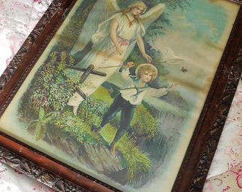 Beautiful large antique religious print, angel and child, Victorian