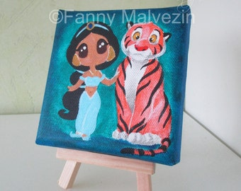 Jasmine and Rajah (Aladdin) - Mini painting
