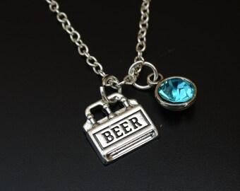Six Pack of Beer Necklace, Beer Charm, Beer Pendant, Beer Jewelry, Six Pack of Beer Charm, Beer Case Charm, Beer Gifts, Beer Girl, Beer Love