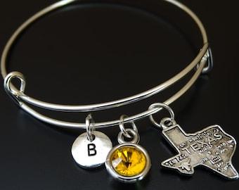 Texas Bangle Bracelet, Adjustable Expandable Bangle Bracelet, Texas Charm, Texas Pendant, Texas Jewelry, State of Texas Bangle, Texan Gift