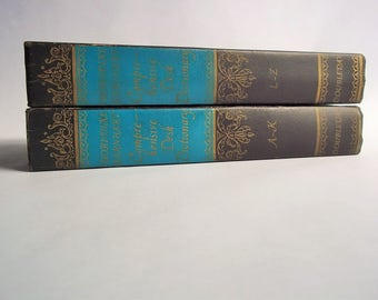 SALE Thorndike Barnhart Comprehensive Desk Dictionary Vintage Books, Set of Two Volumes, 1962 Doubleday Books, Decorative Blue & Black Books