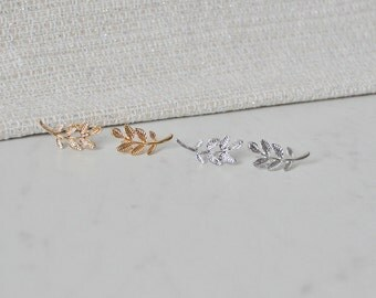 Olive Branch Earrings, Gold or Silver, Nickel Free, Stud, Post
