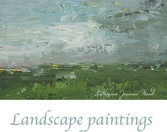 Pale Blue & Green Oil Landscape Painting. Home Office Wall Decor. Original Art Gift for husband. 1