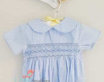 Gorgeous baby blue checked hand smocked romper - size 3-6 months