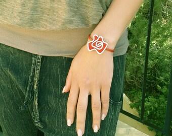 Summer Sale, Red Bracelet, Leather Flower Bracelet, Statement Bracelet, Unique Bracelet, Gift For Her, Vintage Style Bracelet.