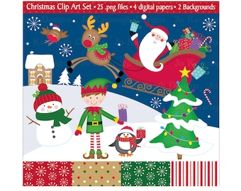 Christmas Clip Art,Christmas Clipart,Christmas,Clipart,Santa Clipart,Christmas Instant Download,Holiday Clipart,Scrapbooking,Commercial