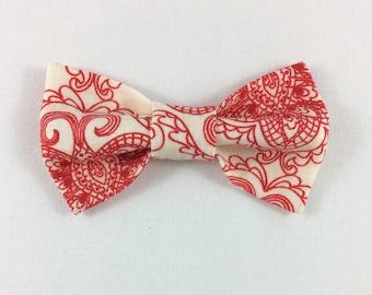 Red Print Cat Bow tie, Cat tie, Cat Bow tie collar