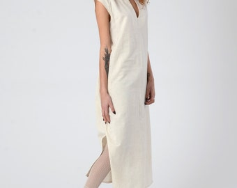 Women's Linen Dress, Hippie Chic Midi Maxi Caftan Dress, Off-White wedding Kaftan Dress, Boho / Beach Dress with Pockets, Summer Linen Dress
