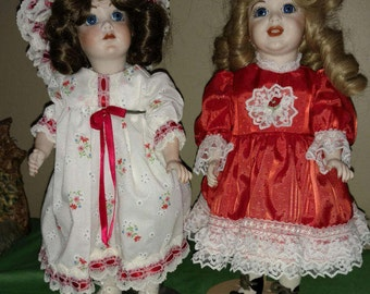 "Two Vintage Reproduction 13"" Porcelain Dolls"