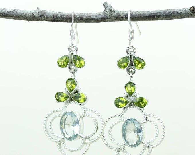 Green Amethyst 925 SOLID (Nickel Free) Sterling Silver Italian Made Dangle Earrings e672