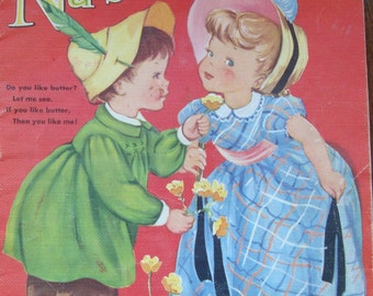 Vintage Merrill - Fine Books for Children- Favorite Nursery Rhymes - Vividly Colored Pictures on Textured Paper