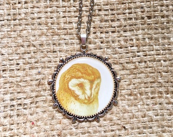 Owl Necklace, Owl Bezel Necklace, Retro Owl Necklace, Owl Pendant, Bird Necklace, Owl Pendant Necklace,Owl Jewelry, Woodland Owl Jewelry,