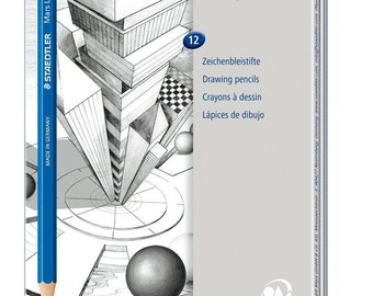 Staedtler Lumograph Graphite Drawing and Sketching Pencils  Set of 12 Degrees in an Attractive Storage Tin