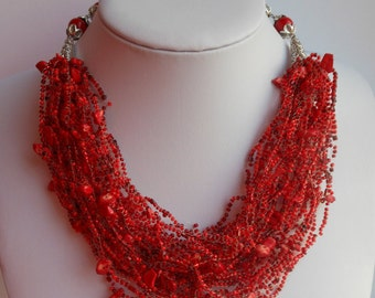 Beaded Air jewelry Jewelry set Red necklace Beaded necklace Holiday necklace Elegant crochet necklace short necklace beaded jewelry gift