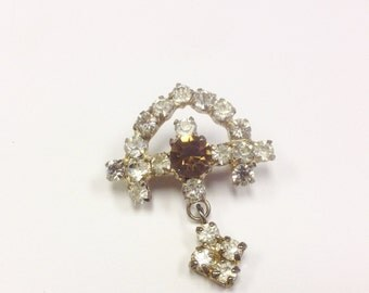 Vintage Rhinestone or paste brooch in an antique style. Edwardian revival sparkly paste brooch.