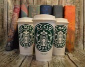 "Harry Potter Gift, Starbucks Coffee Cup ""ACCIO COFFEE"" with Glasses (Genuine Starbucks Cup) [Accio Personalized Harry Potter gift idea]"