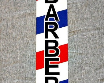 Metal Sign BARBER shop barbershop pole hair stylist cut chair hairdresser stripes man cave wall plaque