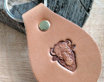 Leather Keychain Tear Drop Shaped Buffalo Stamped